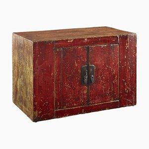 Antiker Gansu Schrank aus rotem Lack