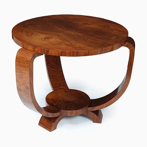 Art Deco French Walnut Coffee Table, 1930s