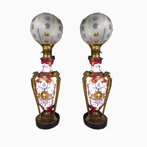 Antike Porzellan Tischlampen, 2er Set