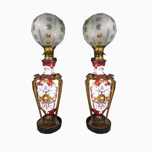 Lampes de Bureau Antique en Porcelaine, Set de 2