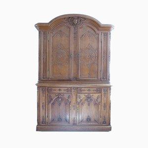 Antikes Geschnitztes Eichenholz Sideboard