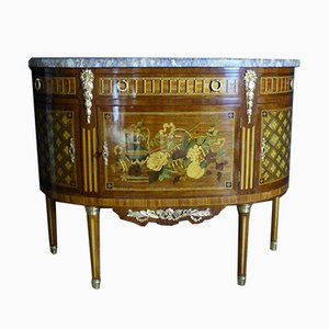 Antique Marquetry Half-Moon Dresser