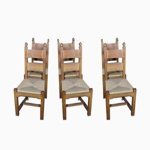 Antike XX Stühle aus Eiche, Set aus x