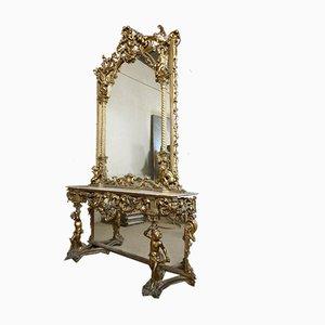 Console et Miroir Antique en Bois Doré