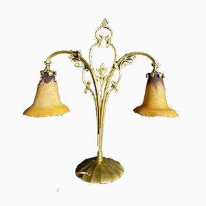 Antike Jugendstil Tulip Daum Tischlampe