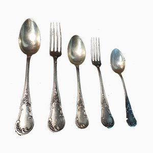 Antique Household Sterling Silver Cutlery, Set of 86