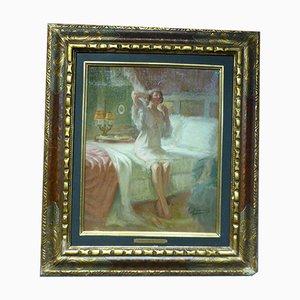Pittura vintage con donna sul bordo del letto di Pierre Bonnaud