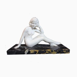 Vintage Marble Sculpture of a Young Woman