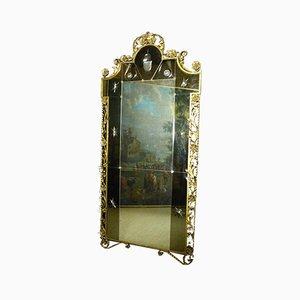 Antiker XX Goldener Eisen & Gravierter Spiegel