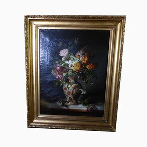 Antique Flower Bouquet Painting by J. Trouilleux