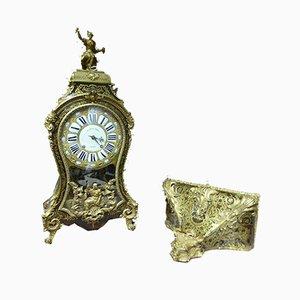 Braune Antike XVIII Uhr mit Intarsien