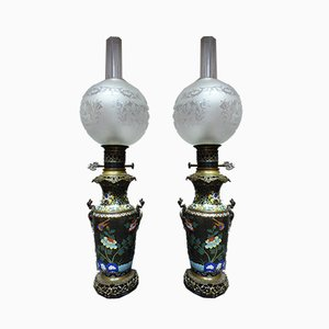 Antique Cloisonné Enamel Lamps, Set of 2