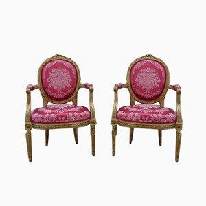 Antike Napoleon III Armlehnstühle mit vergoldetem Holzrahmen, 2er Set