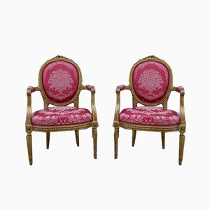 Antique Napoleon III Giltwood Armchairs, Set of 2