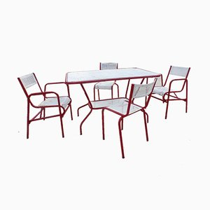 Garden Chairs & Table by Matégot, Set of 5