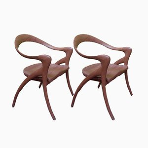 Antique Teak Armchairs, Set of 2