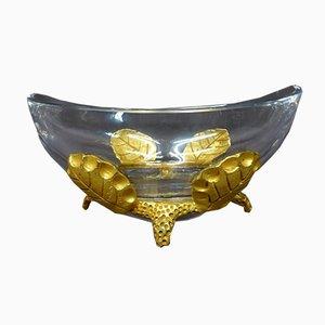 Antike Tasse aus Kristallglas und Bronze