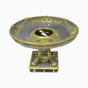 Antike Tasse aus Kristallglas und Bronze von XIX