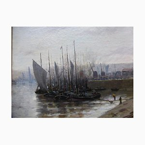 Antique Bateaux Au Port French School Painting by Hermann Delpech