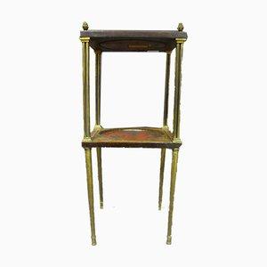 Table d'Appoint Antique Laquée en Marqueterie