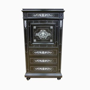 Antique Napoleon III Blackened Wood Secretaire