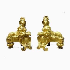 Antike Andironen aus vergoldeter Bronze