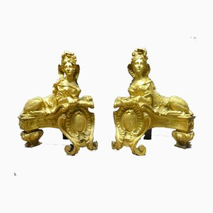 Antique Gilt Bronze Andirons