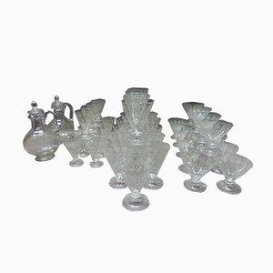 Antique Crystal Glasses, Set of 44