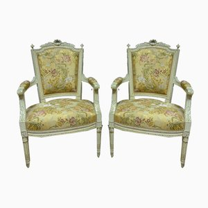 Antique Louis XVI Style Armchairs, Set of 2