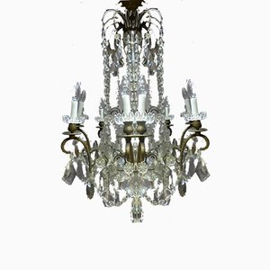 Antique XIX Bronze and Crystal Chandelier