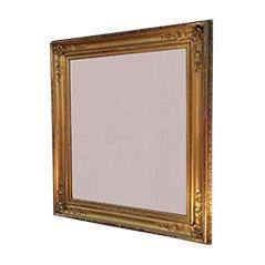 Espejo antiguo dorado con marco de madera