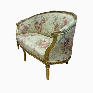 Antique Louis XVI Style Golden Wood Basket Sofa