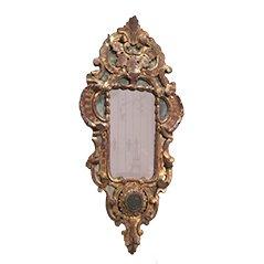 Antiker Vergoldeter Rocaille Holz Spiegel