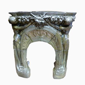 Antique Art Nouveau Rispal Fireplace Mantel
