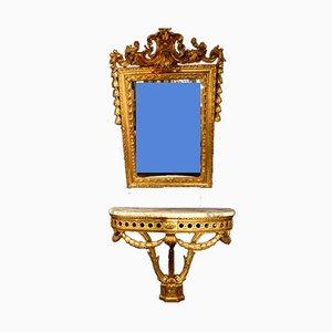 Antiker Goldener Holz Spiegel und Konsole