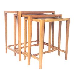 Mid Century Walnut & Glass Nesting Tables by A.A. Patijn for Zijlstra Joure, Set of 3