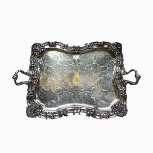 Silver Metal Serving Tray