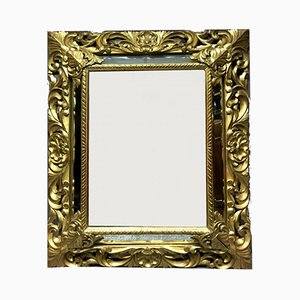 Großer Antiker Napoleon III Spiegel mit goldenem Holzrahmen