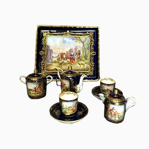 Antique One-On-One Service Set in Porcelain with Landscape Decoration