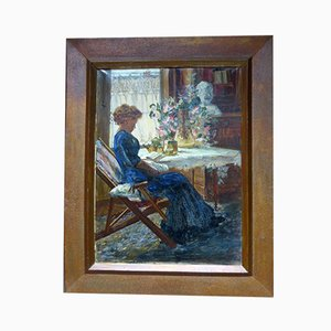 Antique Interior Scene Painting by Millet