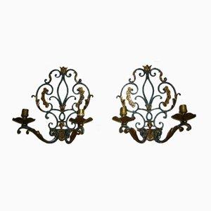 Wandkerzenhalter aus Schmiedeeisen mit Vergoldeten Blätter, 2er Set