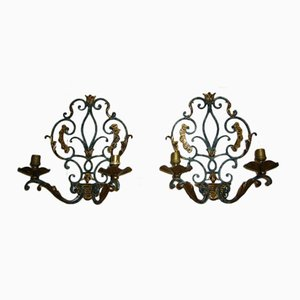Wrought Iron Wall Sconces with Gilded Leaves, Set of 2