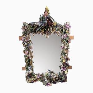 Großer antiker Spiegel aus Barbotine