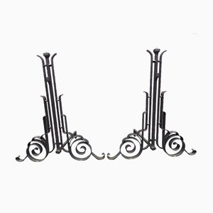 Antique Wrought Iron Andirons Attributed to Charles Piguet