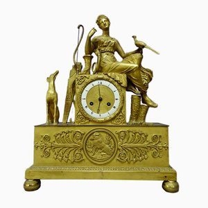 Pendule Antique Empire en Bronze Doré