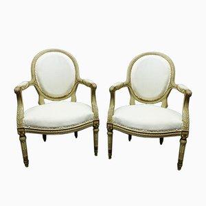 Antike Armlehnstühle im Louis XVI Stil, 2er Set