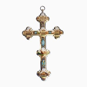 Large Antique Glass Micro-Mosaic Cross