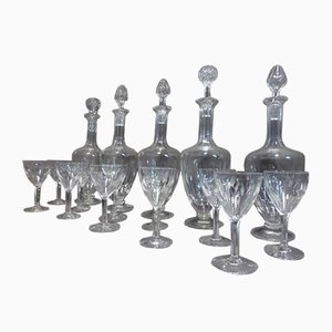 Antique Crystal Glasses & Decanters, Set of 56