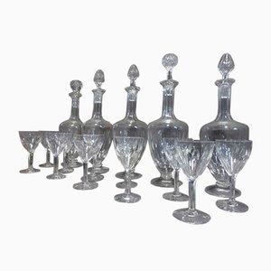 Verres & Décanteurs Antiques en Cristal, Set de 56