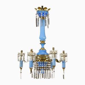 Antiker Napoleon III Opalglas Kronleuchter